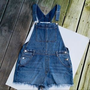 Brandy Melville large blue jean cut off overalls